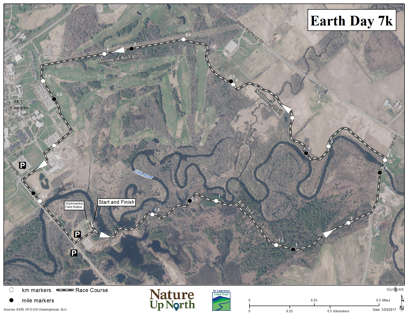 Official Earth Day 7K trail map