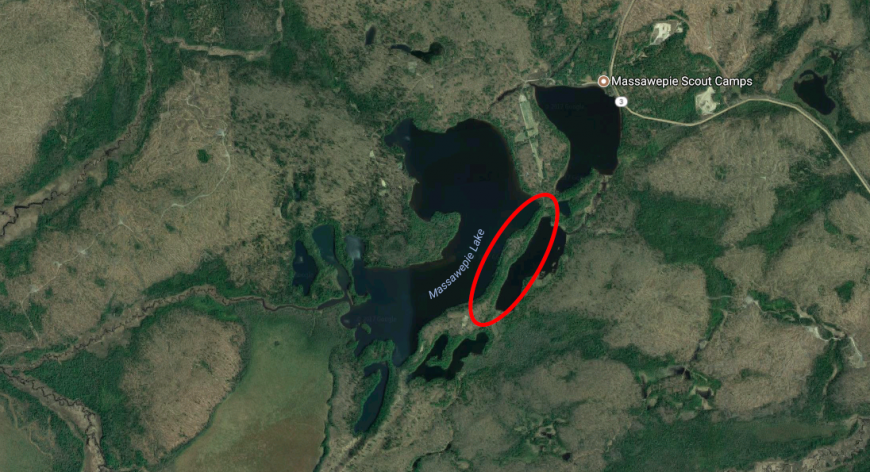 Satellite image of Lake Massawepie showing the esker deposit. Map data: Google