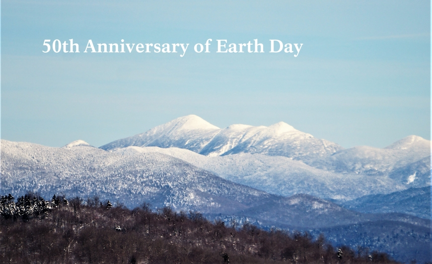 "View from Coney mountain with words ""50th Anniversary of Earth Day"""